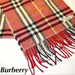 Burberry Cashmere Scarf Red Nova Check Print Large